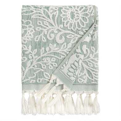 Chinois Green and Ivory Tufted Floral Tassel Nolita Towels