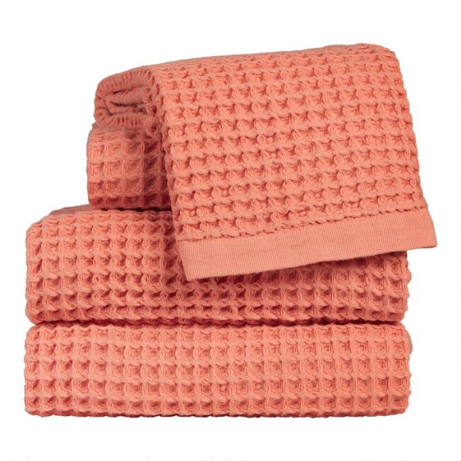 Terracotta Waffle Weave Cotton Towels