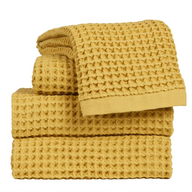 Mustard Waffle Weave Cotton Towels
