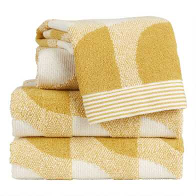 Mustard and Ivory Mod Geo Marlowe Towels
