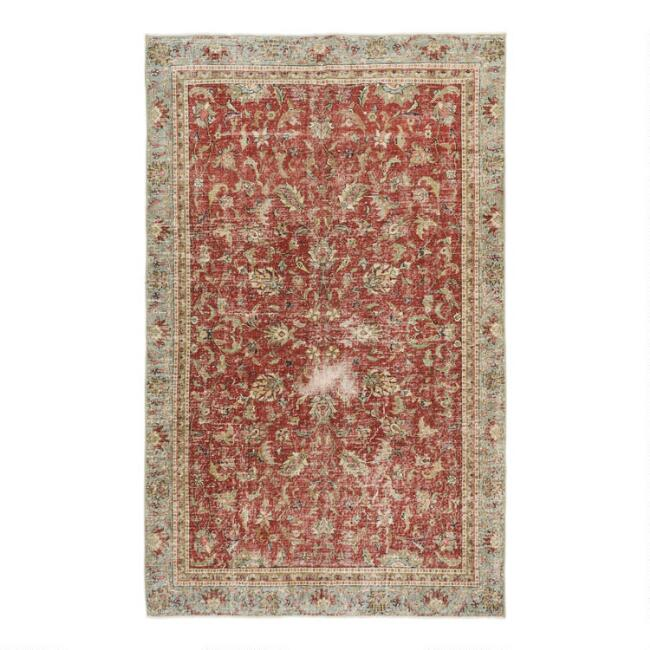 Revival Rugs Dark Pink Wool Francisco Vintage Area Rug