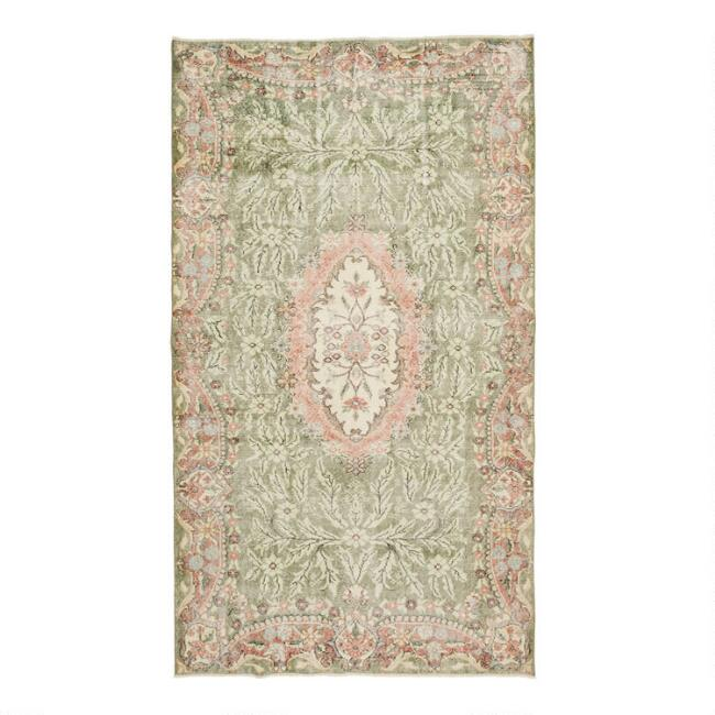 Revival Rugs Green and Pink Wool Grazia Vintage Area Rug