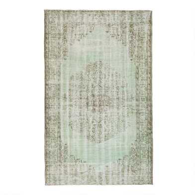 Revival Rugs Green Wool Hermindo Vintage Area Rug