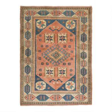 Revival Rugs Pink and Blue Wool Pasca Vintage Area Rug