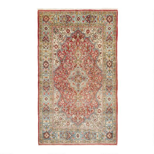 Revival Rugs Dark Pink Wool Zissel Vintage Area Rug