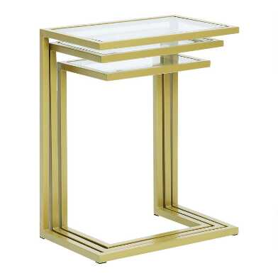 Gold Metal and Glass Top Nesting Tables Set Of 3