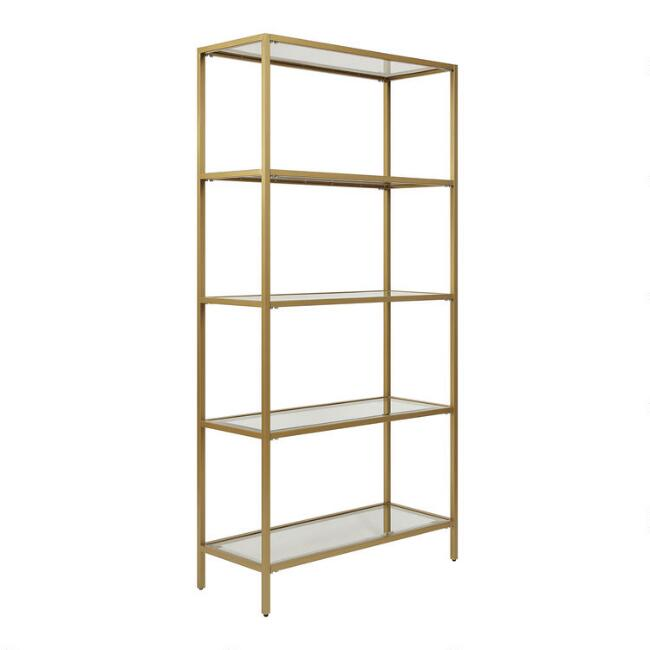 Gold Metal and Glass Bookshelf