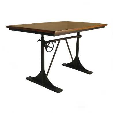 Wood and Cast Iron Adjustable Height Stellan Desk