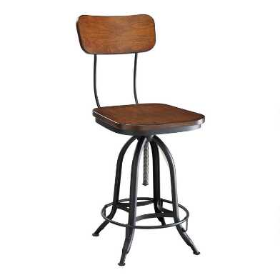 Wood and Metal Adjustable Height Dowell Stool