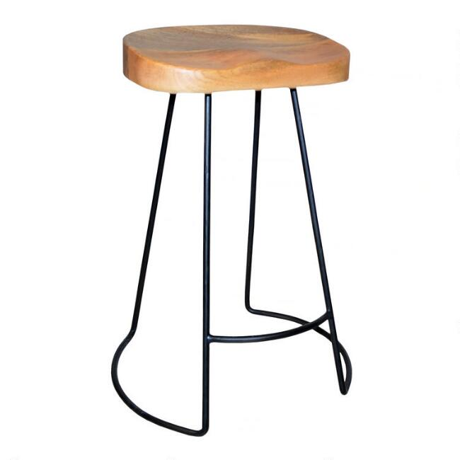 Wood and Metal Backless Porter Counter Stools Set of 2