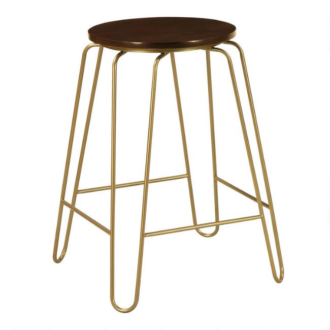 Gold Hairpin and Elm Backless Ryker Counter Stools Set of 2