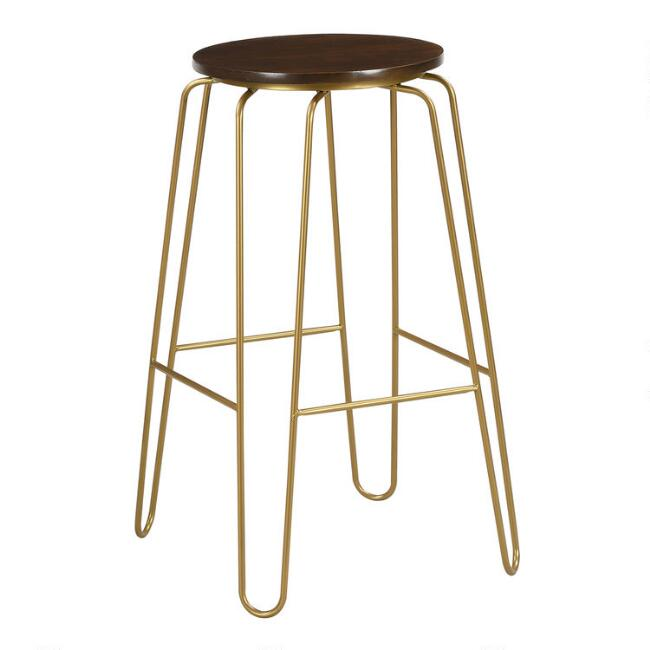 Gold Hairpin and Elm Backless Ryker Barstools Set of 2