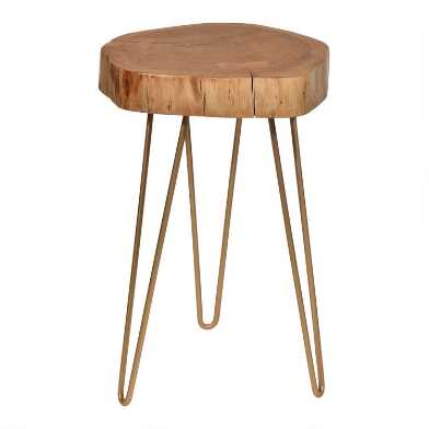 Live Edge Acacia Wood and Gold Iron Madison Accent Table