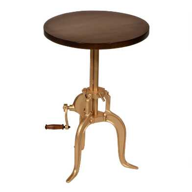Round Wood and Gold Adjustable Monroe Accent Table