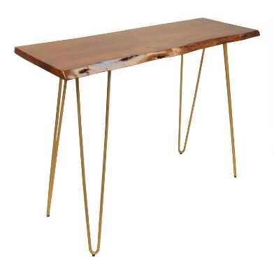 Live Edge Acacia Wood and Gold Hairpin Madison Console Table
