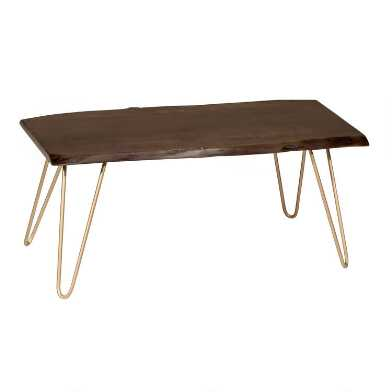 Live Edge Acacia Wood and Gold Hairpin Madison Coffee Table