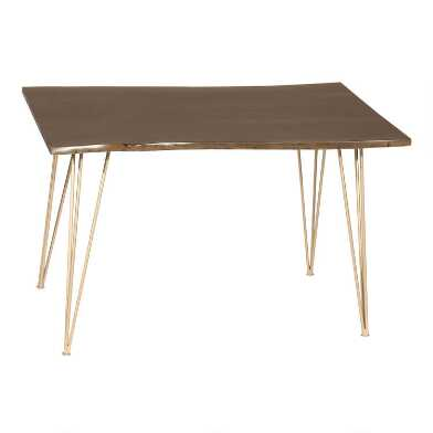 Live Edge Acacia Wood and Gold Hairpin Madison Dining Table