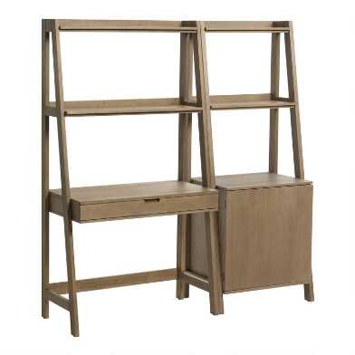 Graywash Modular Elias Desk and Shelf 2 Piece Set