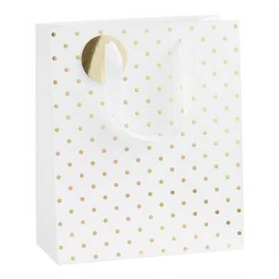 Medium White and Gold Kraft Gift Bag