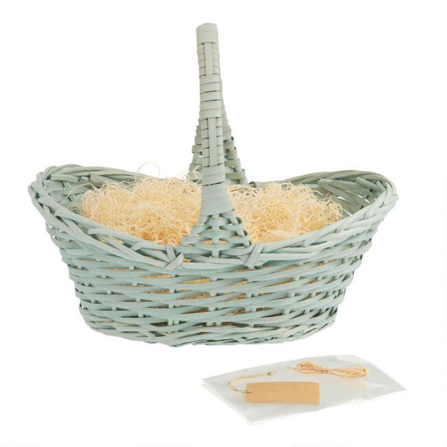 Light Blue Woven Gift Basket Kit with Handle