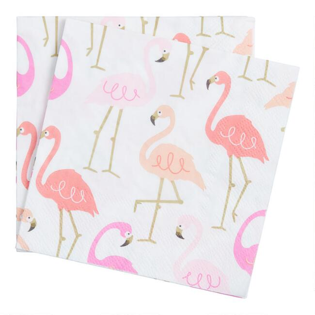 Pink Flamingos Beverage Napkins 20 Count