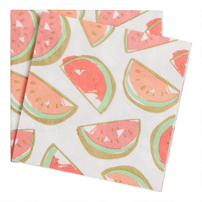 Watermelon Slices Beverage Napkins 20 Count