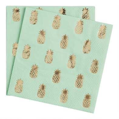 Gold Pineapples Beverage Napkins 20 Count