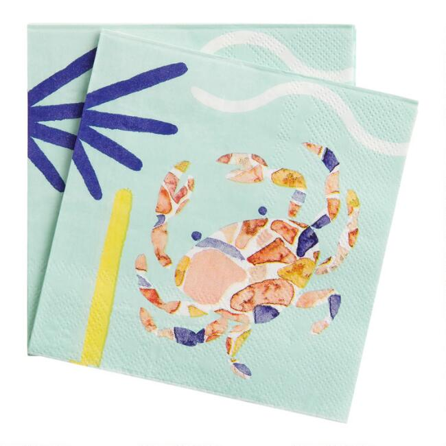 Aegean Crab Beverage Napkins 20 Count