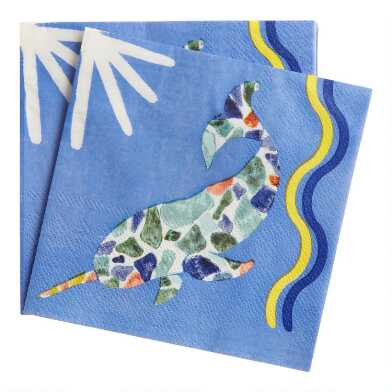 Aegean Narwhal Beverage Napkins 20 Count