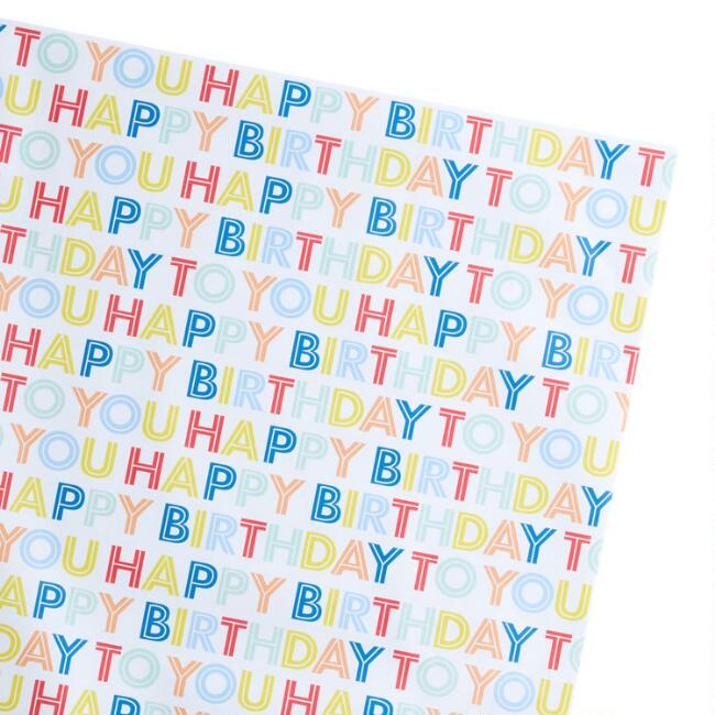 Happy Birthday Text Wrapping Paper Sheets