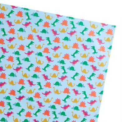 Multicolor Dinosaur Wrapping Paper Sheets