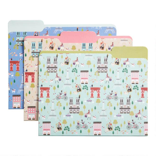 Multicolor Paris Icon File Folders 6 Pack
