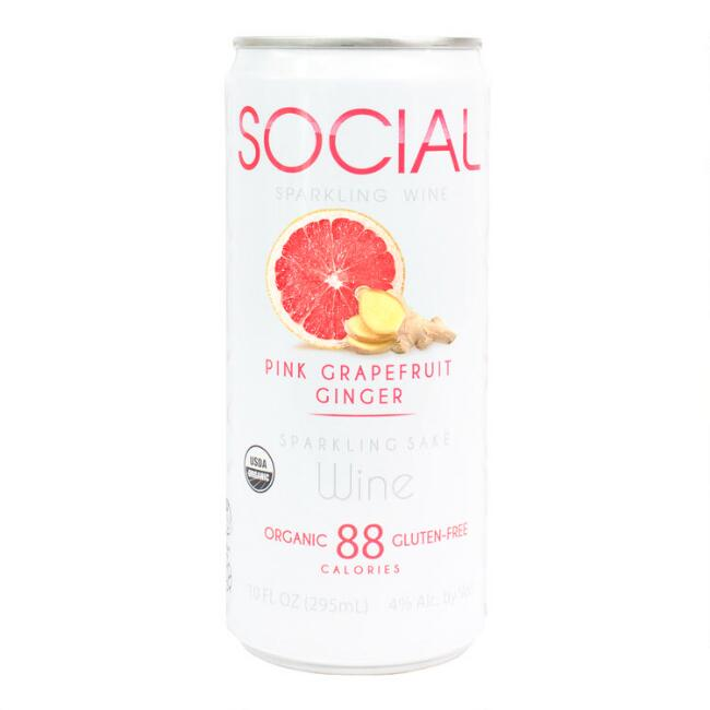Social Pink Grapefruit Ginger Sparkling Sake Wine Can