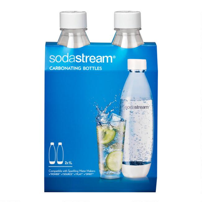 White SodaStream® 1L Carbonating Water Bottle 2 Pack