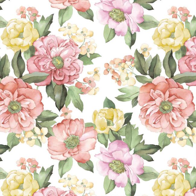 Pink And Yellow Floral Peel And Stick Wallpaper