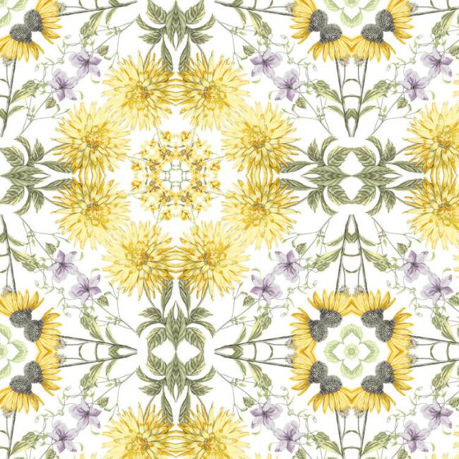 Yellow And Gray Kaleidoscope Peel And Stick Wallpaper