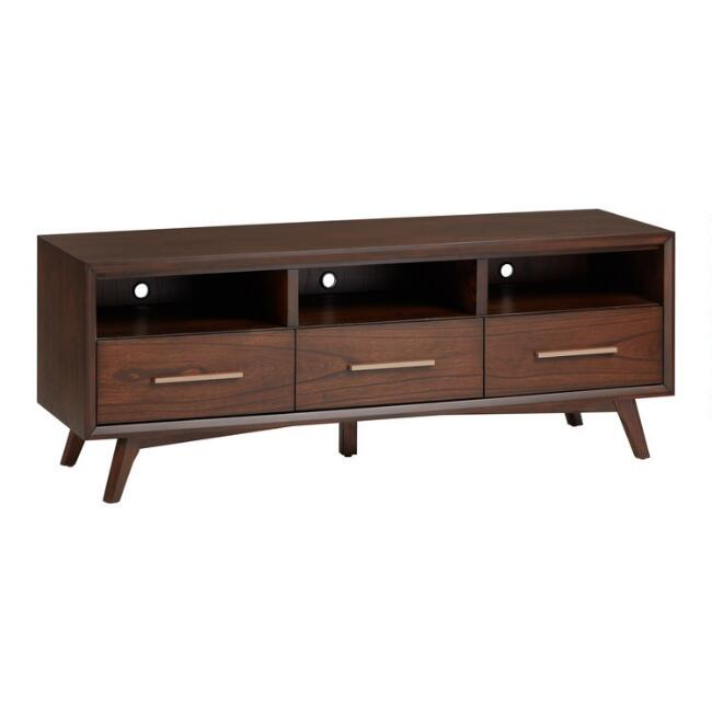 Walnut Brown Mahogany Mid Century Albin Media Stand