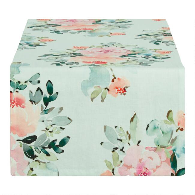Aqua Multicolor Peony Table Runner
