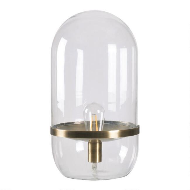 Glass And Antique Brass Fairview Accent Lamp