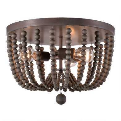 Wood Bead 3 Light Flush Mount Madison Ceiling Light