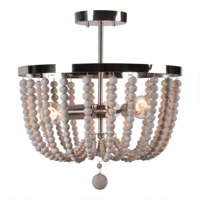 Wood Bead 3 Light Semi Flush Mount Madison Ceiling Light