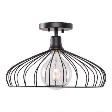 Black Wire Cage Semi Flush Mount Edward Ceiling Light