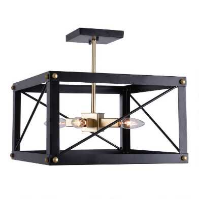 Black And Gold 4 Light Semi Flush Preston Ceiling Light