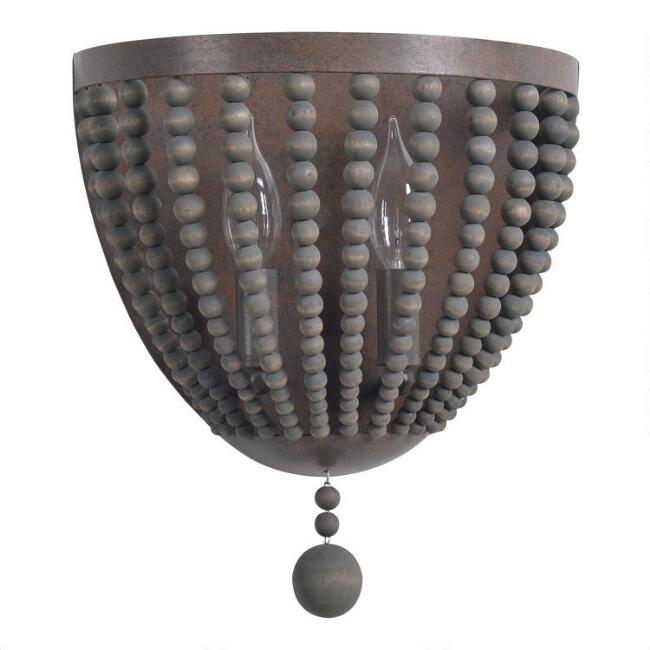 Gray Wood Bead 2 Light Madison Wall Sconce