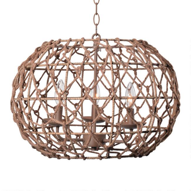 Natural Rope 3 Light Seaside Pendant Lamp