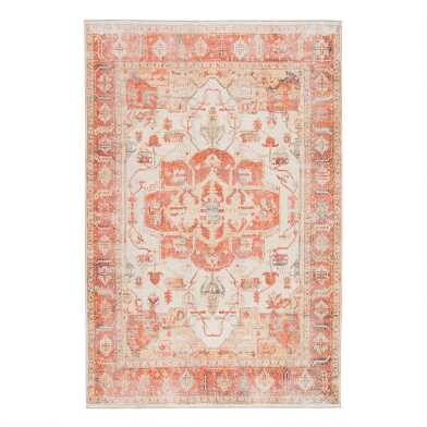 Orange And Ivory Medallion Serin Area Rug
