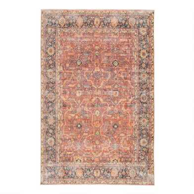 Blue And Orange Floral Loma Area Rug
