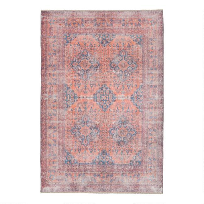 Blue And Orange Medallion Nadia Area Rug