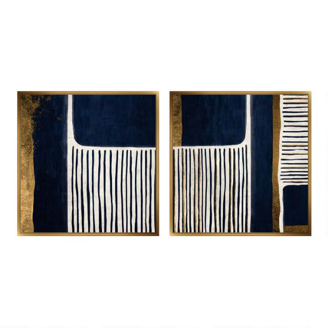 Blue And Gold Abstract Framed Canvas Wall Art Set Of 2