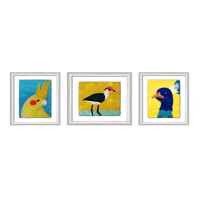 Yellow And Blue Cheerful Birds Framed Wall Art 3 Piece
